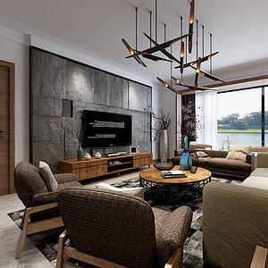 极简风格客厅效果图