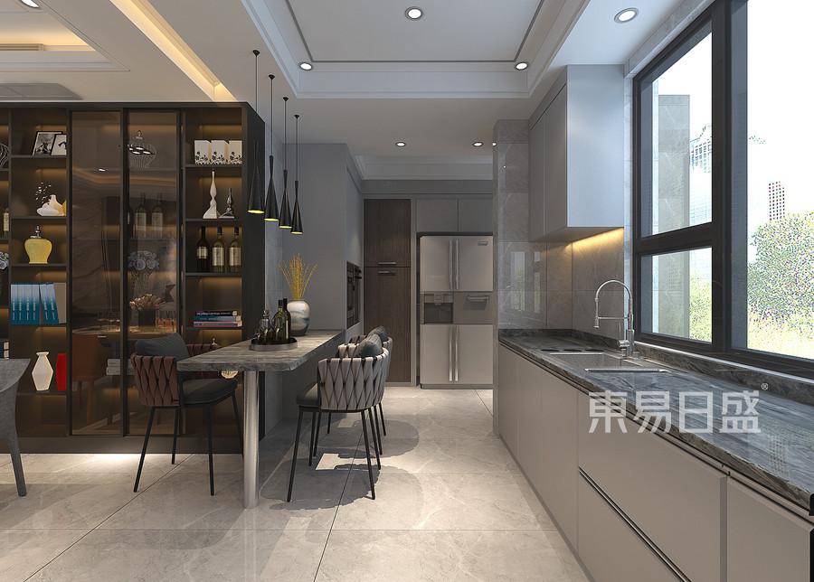 普通住宅-现代港式-厨房-效果图
