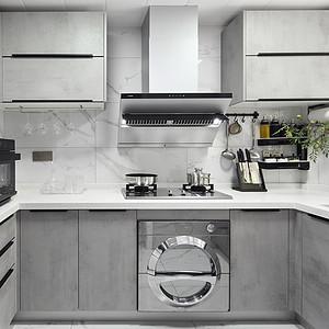 华富园93㎡现代简约高级灰厨房