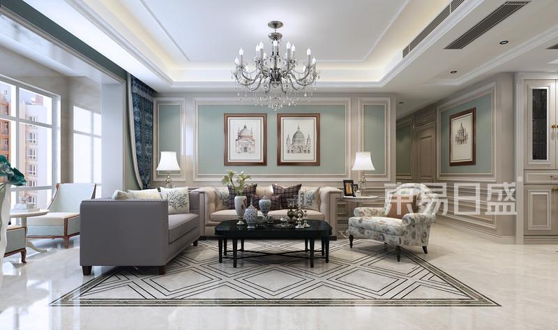 美式新古典风格-客厅-装修效果图
