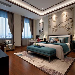 如皋自建房535平新中式卧室