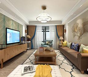 光明上海府邸简美风格客厅装修效果图