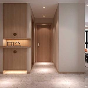 门厅隐藏式的鞋柜满足装饰与储藏的功能