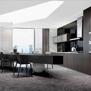 200㎡四居室现代风格厨房效果图