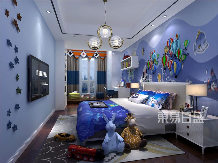 145㎡三居室后现代风格装修男孩房效果图