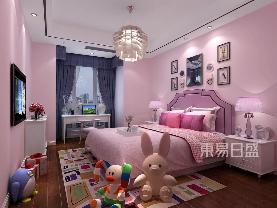 145㎡三居室后现代风格装修女孩房效果图