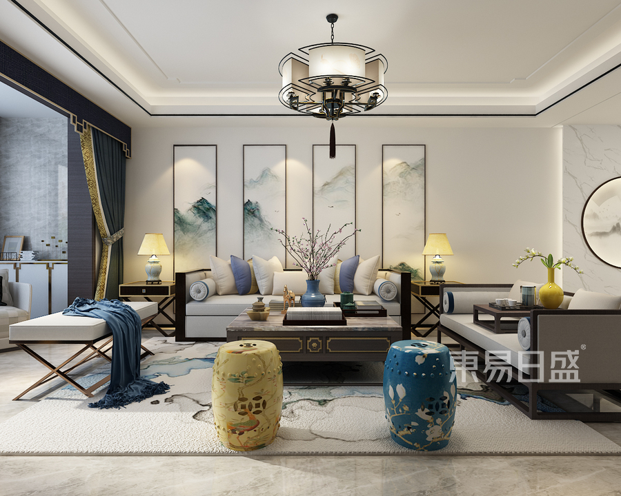 三居室-新中式-客厅沙发背景墙-效果图效果图_2019图片