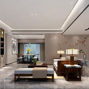 鸿荣源尚峰 现代中式家装效果图 三室两厅两卫 150平米