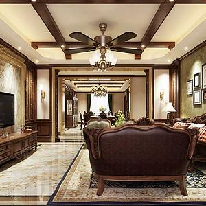 客厅空间删繁就简,在保留美式风格