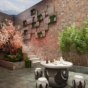 松山湖翡翠松山湖新中式庭院装修效果图