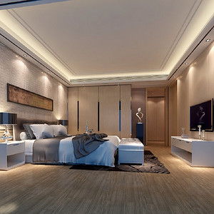 波托菲诺纯水岸-现代简约风格-卧室效果图