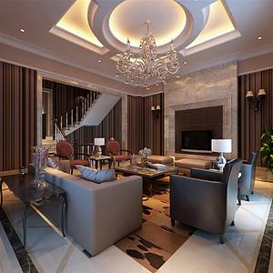国耀紫溪别墅欧式风格客厅装修效果图