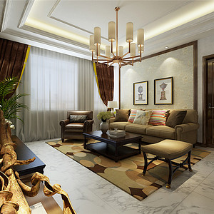 香格里拉简欧风格二层客厅装修效果图