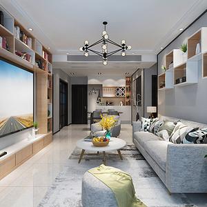 黄江金地湖山大境家装案例-102㎡北欧风三房二厅装修效果图