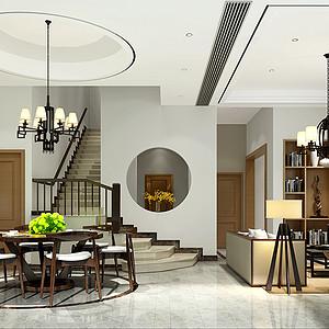 沉香谷430㎡别墅新中式风格装修效果图