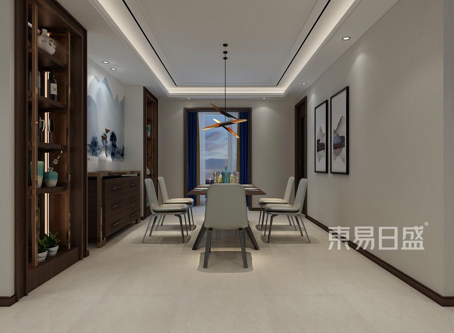 新中式风格餐厅装修效果图效果图_2018装修案例图片