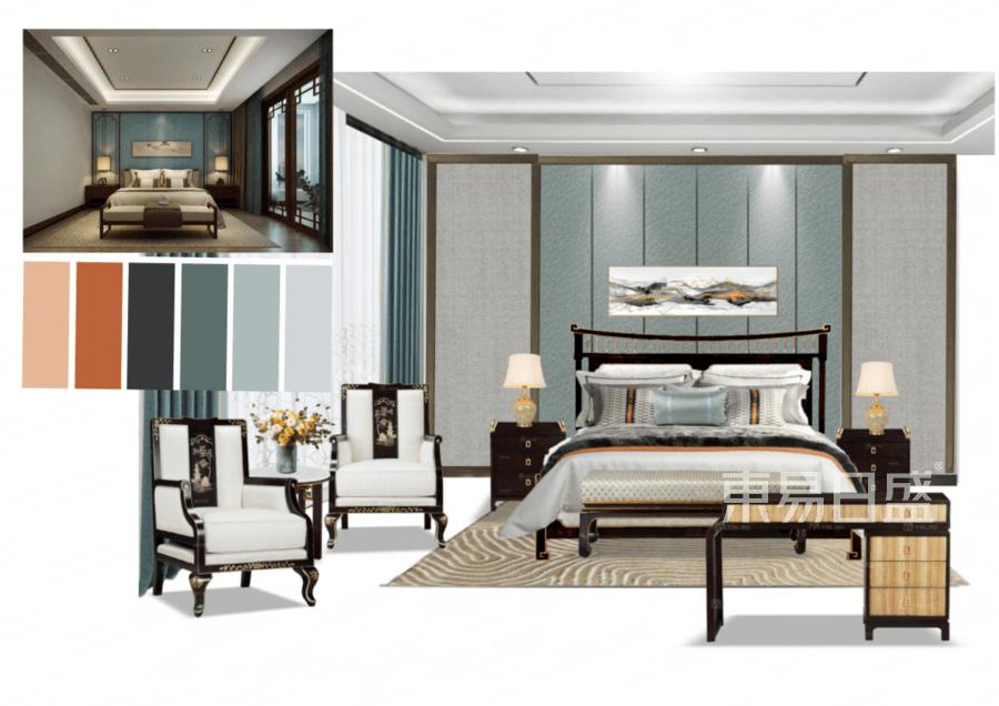 别墅-新中式-卧室-效果图