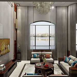碧桂园-420平米-新中式别墅装修案例效果图