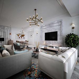 雅居乐御宾府 北欧装修效果图 三室两厅二卫 130平米