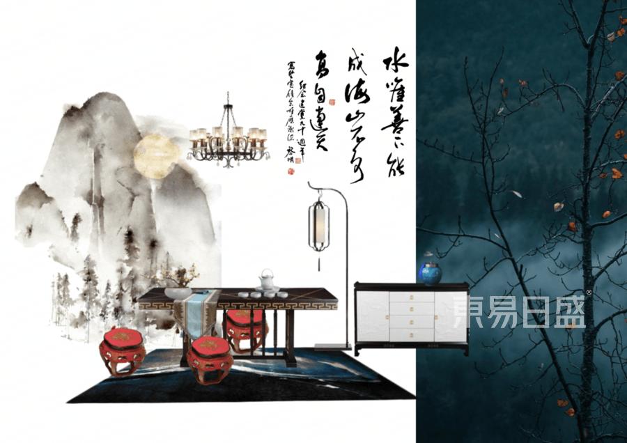 别墅-新中式-茶室-效果图