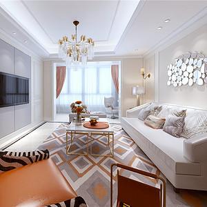 天和家园115平小美风格设计装修效果图-美式小清新