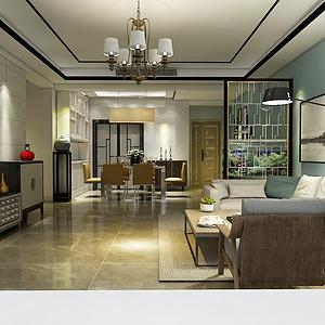淡蓝色使客厅的简约变成不简单