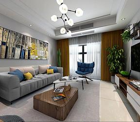 融侨城现代北欧风格客厅装修效果图