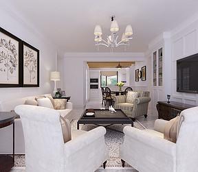 红星紫郡美式风格客厅装修案例效果图