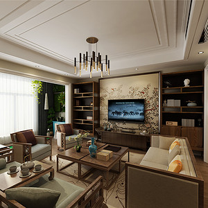 欧景名城160m²-大空间新中式,私密空间简美风格