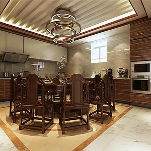 香格里拉简欧风格一楼餐厨房装修效果图