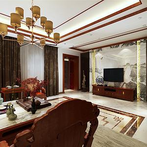 香格里拉简欧风格一楼客厅装修效果图