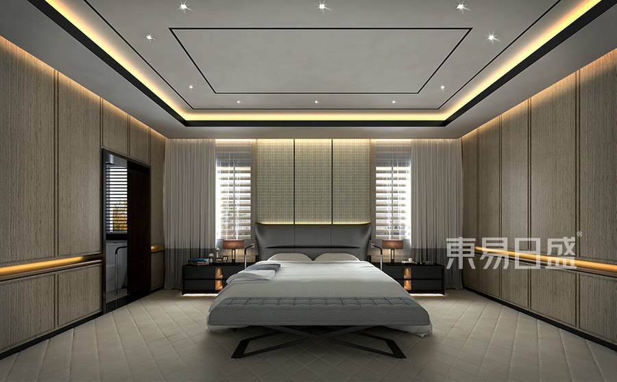 别墅-轻奢一楼卧室-效果图