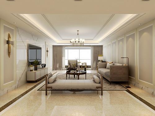 枫叶国际-320平米-现代美式风格装修案例效果图装修设计理念