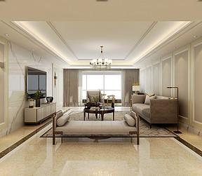 枫叶国际现代美式风格客厅装修案例