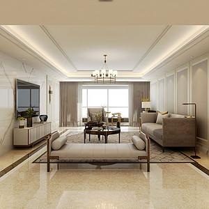 枫叶国际-320平米-现代美式风格装修案例效果图