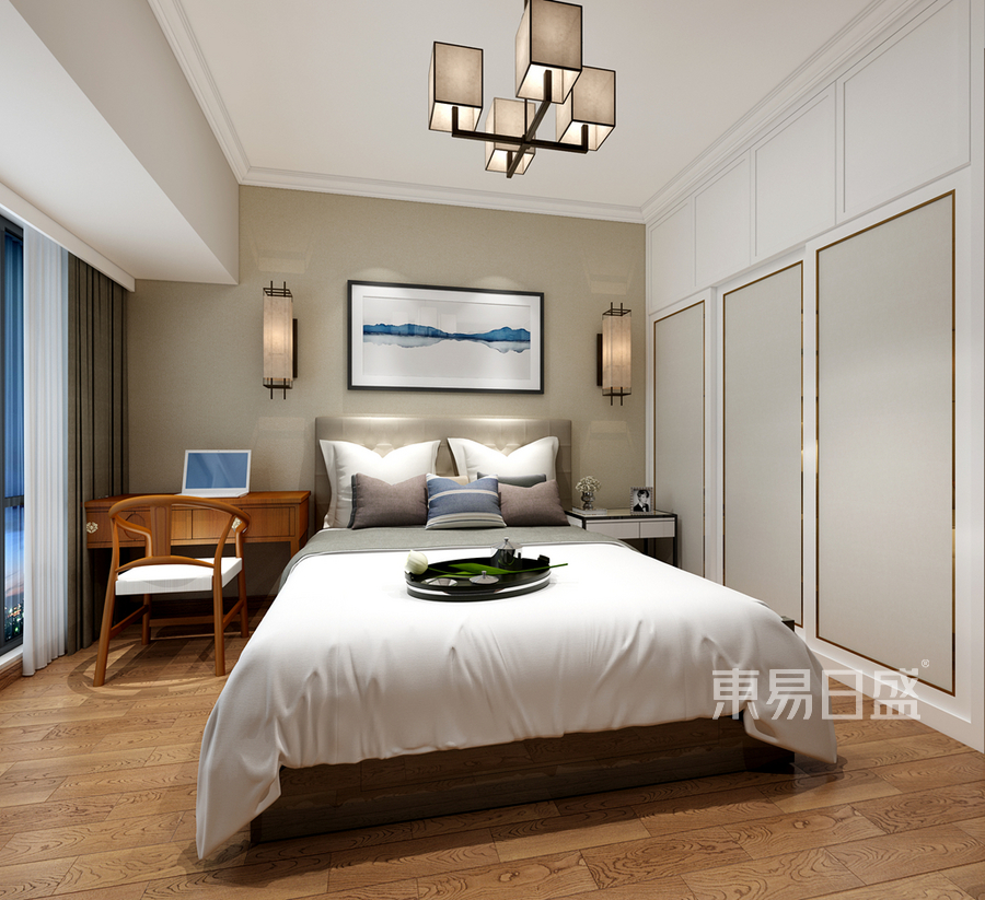 三居室简约中式风格卧室装修效果图:卧室在设计的时候