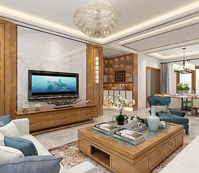 正大时代华庭四房新中式客厅装修效果图
