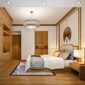 正大时代华庭四房新中式卧室装修效果图