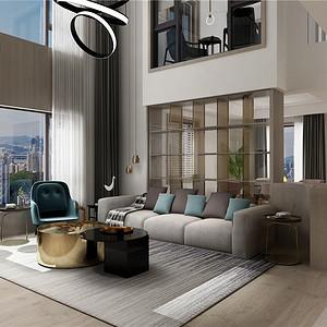万瑞嘉园301平跃层现代休闲装修设计效果图