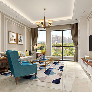 虎门丰泰东海城堡装修效果图-103㎡美式风格三房二厅装修案例