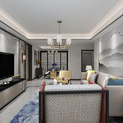 首开国风琅樾三居室现代简约客厅装修效果图效果图