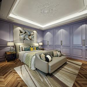 御花园现代法式风格卧室装修效果图