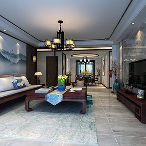 厚德福城175平三室二厅新中式风格装修案例