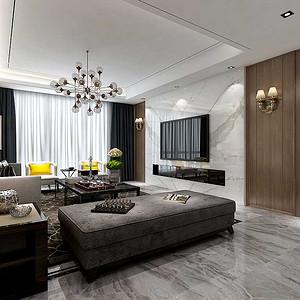 电视墙采用石材,突出电视背景的现代感