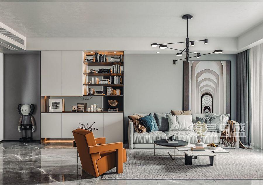 宏发前城-现代风格-客厅效果图