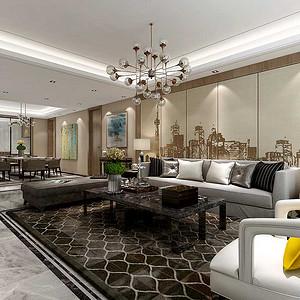 客厅整体采用木色和米色搭配,体现温馨