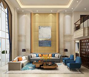金海岸513平轻奢复式客厅装修效果图
