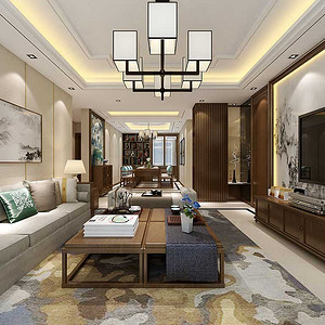 客厅整体采用木色和米色搭配