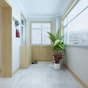 新中式风格-阳台-装修效果图