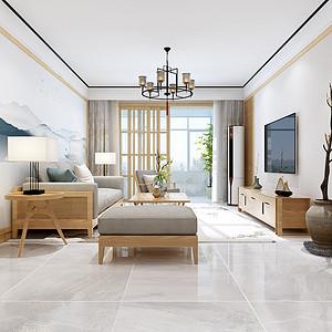 汇君城139平三室二厅新中式风格装修案例
